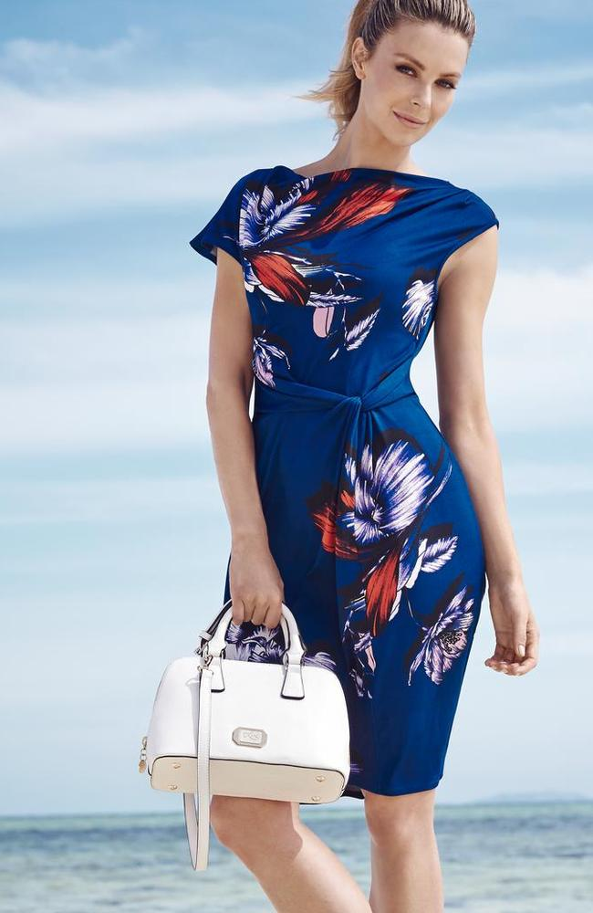 Tropical prints: Jen wearing Leona Edmiston from the Myer spring campaign shoot in Fiji