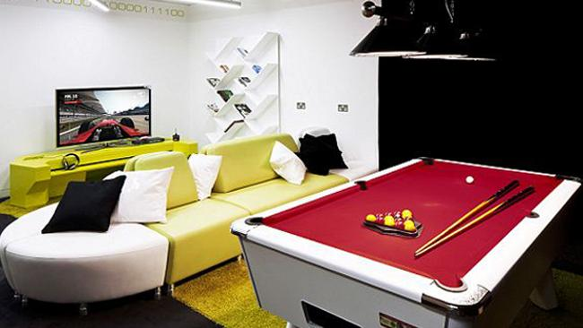 The engineers level at London?s Google hub comes complete with pool tables and gaming consoles. Picture: Penson Group/Google