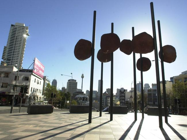 "Another controversial piece of public art … The so-called ""Poo on Sticks"" sculpture in the Kings Cross, Sydney. Picture: Chris Pavlich"