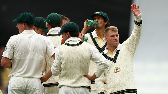 David Warner carried the drinks during the tour match against Worcester. Picture: Ryan Pierse