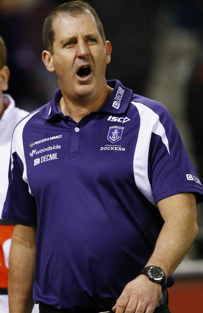 Ross Lyon leaves the ground after the loss. Pic: Michael Klein.