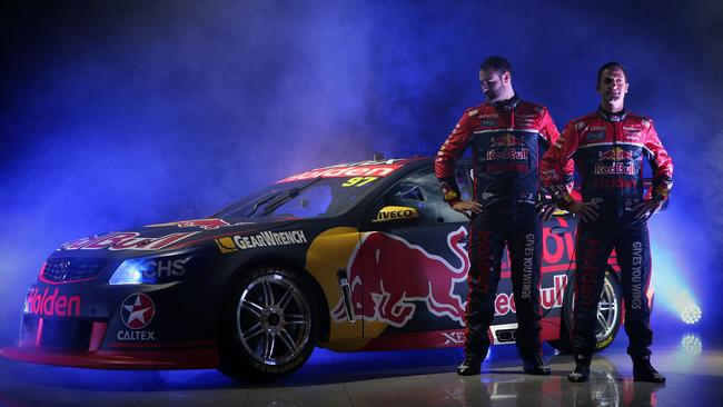 Reigning champion Shane van Gisbergen and six-time series winner Jamie Whincup with their 2017 Red Bull Supercar. Picture: George Salpigtidis