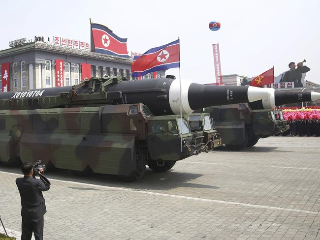 In what military experts say appears to be a North Korean KN-08 Intercontinental Ballistic Missile (ICMB) is paraded across Kim Il Sung Square during a military parade. Picture: AP