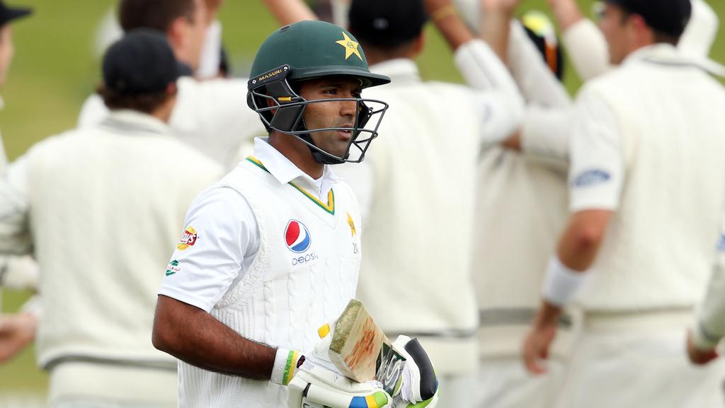 Pakistan's Asad Shafiq is dismissed.