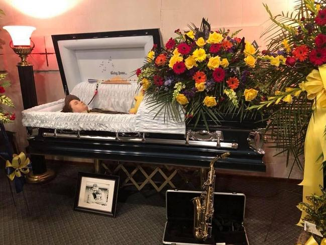 Heartbroken Cheryl Hudson shared this image of her son Andy Leach in his coffin to raise awareness of the impact of bullying. Picture: Facebook
