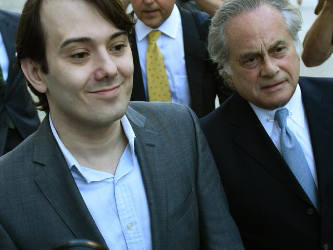 "Former Turing Pharmaceuticals Martin Shkreli, who became known as ""Pharma Bro"", arrives for the first day of jury selection in his federal securities fraud trial in New York. Picture: Timothy A. Clary/AFP"
