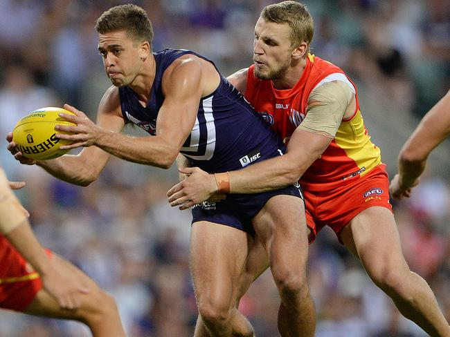 Fremantle's Stephen Hill averaged 29 disposals and two goals against West Coast last season. Picture: Daniel Wilkins