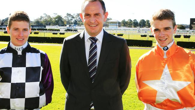 ATC Premiership-winning jockey James McDonald with leading trainer Chris Waller and leading apprentice Sam Clipperton. Picture: Mark Evans