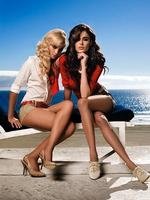 <p>Models Elyse Taylor and Nicole Trunfio pose for Guess fashion campaign in Europe.</p>