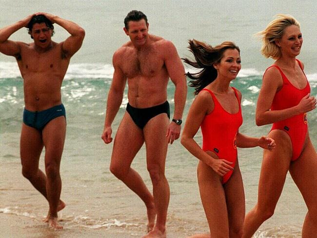 Tania Zaetta (l) with Tanya Koebert at Coogee Beach for Baywatch. Picture: Supplied