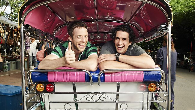 Hamish Blake and Andy Lee in a tuk tuk in Bangkok. Picture: Channel Nine