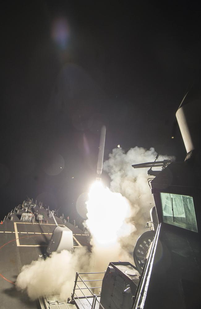 "Mr Trump ordered the military strike on a Syrian air base on Thursday in retaliation for a ""barbaric"" chemical attack he blamed on President Bashar al-Assad. Picture: Mass Communication Specialist 3rd Class Robert S. Price/U.S. Navy via AP"