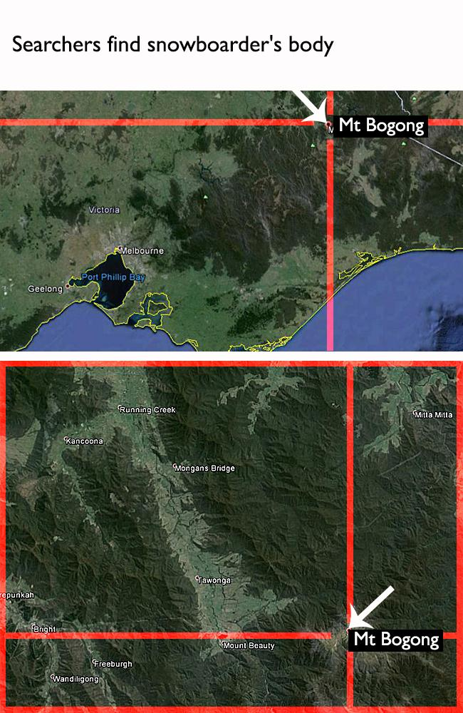 Mt Bogong is 330km northwest of Melbourne and is Victoria's highest peak at 1986m. Google Maps.