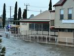 The front of Gallery Yampu is flooded by the Port River at Birkenhead. Picture: Bianca De Marchi