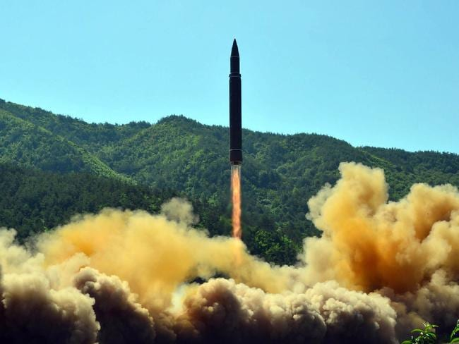 The successful test-fire of the intercontinental ballistic missile Hwasong-14 in North Korea. Picture: AFP/KCNA via KNS/STR