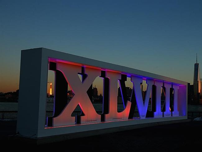 The Super Bowl XLVII sign stands at Pier A in Hoboken, New Jersey.