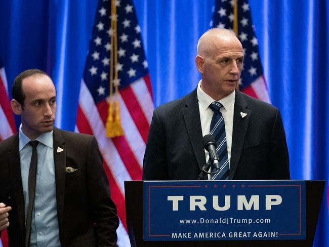 Keith Schiller (pictured with Stephen Miller during the Trump election campaign in 2016) was Trump's security chief in 2013, and heavily involved in making arrangements for the Miss Universe event in Moscow. He's now facing questions about the trip by investigators in Washington. Picture: Drew Angerer/Getty Images