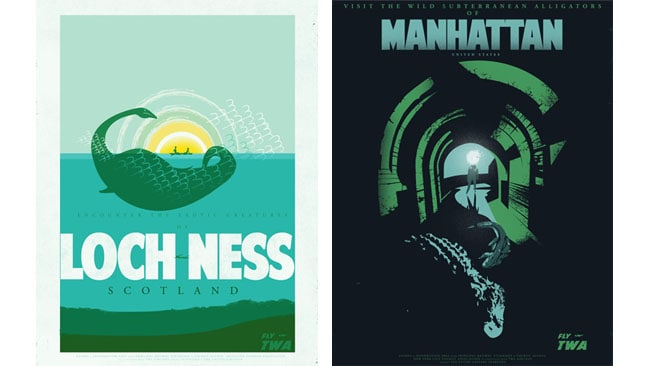 The Loch Ness monster and the alligators of the New York sewers are mythical creatures that feature in the series of posters. Picture: Fernando Reza.