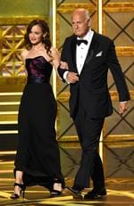 Alexis Bledel and Gerald McRaney speak onstage during the 69th Annual Primetime Emmy Awards at Microsoft Theater on September 17, 2017 in Los Angeles, California. Picture: Getty