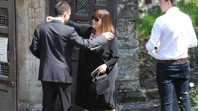 Private event ... Dawn French arrives for the funeral of Rik Mayall at St George's church in Dittisham, Devon. Picture: Nick Ansell/PA Wire