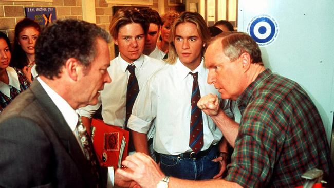 Don't mess with Alf ... Ray Meagher shapes up to co-star Norman Coburn (left).
