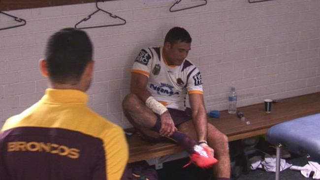 Justin Hodges in the Broncos dressing room after leaving the field injured.