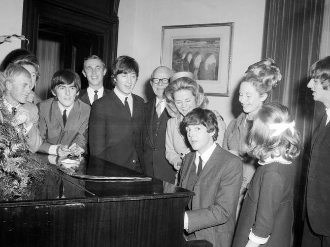 Paul McCartney playing the piano at the Melbourne Town Hall during a state reception. Picture: Herald Sun Image Library