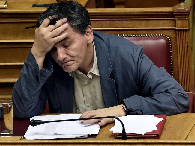 Greek Finance Minister Eyclid Tsakalotos. He's had a rough day.