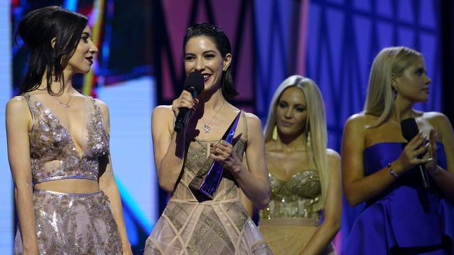 All smiles ... The Veronicas accept an ARIA for Best Video. Picture: Graham Denholm/Getty Images