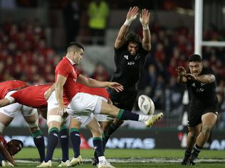 British and Irish Lions Conor Murray kicks the ball during the first test between the British and Irish Lions and the All Blacks at Eden Park in Auckland, New Zealand, Saturday, June 24, 2017. (AP Photo/Mark Baker)