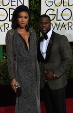 Kevin Hart and Eniko Parrish arrive for the 73nd annual Golden Globe Awards, January 10, 2016, at the Beverly Hilton Hotel in Beverly Hills, California. Picture: AFP PHOTO / VALERIE MACON