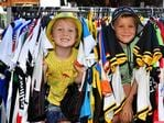 Brothers Harry, 5, and Angus Waller, 7, at Port Adelaide. Picture: Bianca De Marchi