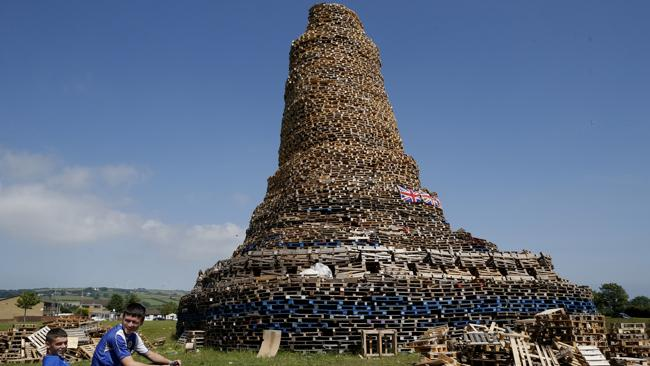 This massive bonfire is over 30 metres high. Picture: AP