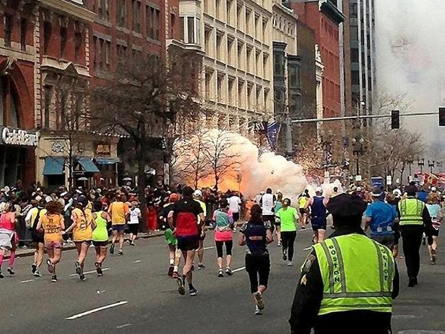 Three killed and many injured ... The bomb goes off at the Boston Marathon in 2013.