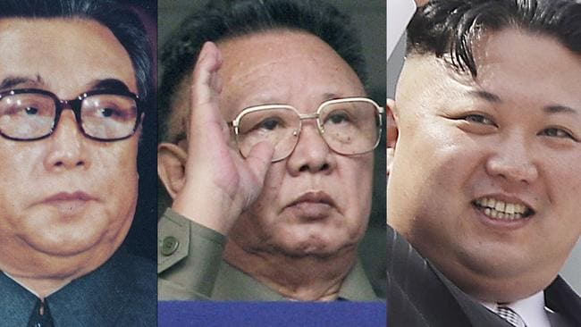 North Korean leaders from past to present, from left to right: Kim Il Sung in 1980; Kim Jong Il in 2010; and Kim Jong Un in 2017; in Pyongyang, North Korea. For nearly 70 years, the three generations of the Kim family have run North Korea with an absolute rule that tolerates no dissent. Picture: Korean Central News Agency/Korea News Service via AP, AP Photo/Vincent Yu, Wong Maye-E, Files)