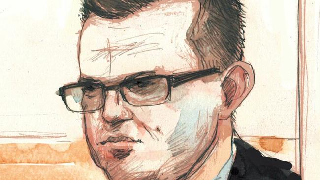 Artists' impression of Gerard Baden-Clay during his committal hearing last year. Image: Jonathan Bentley.