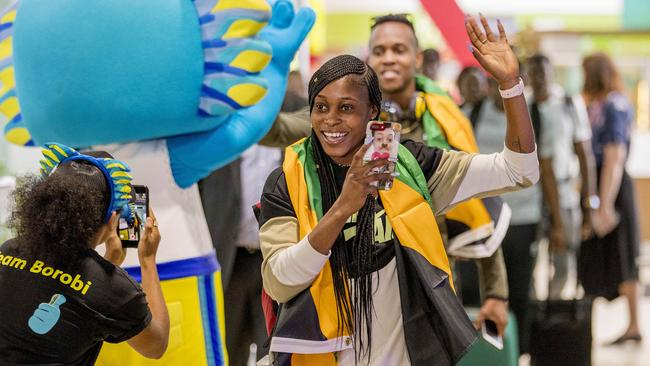 Jamaican Olympic 100m and 200m champion Elaine Thompson arrives at Brisbane Airport. Picture: Jerad Williams
