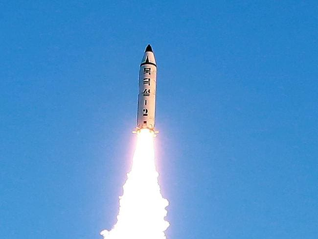 The launch of a surface-to-surface medium long-range ballistic missile Pukguksong-2 at an undisclosed location in North Korea. Picture: AFP