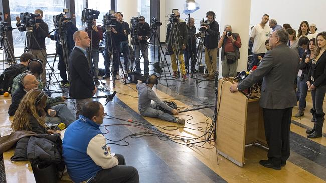 The hospital director Zeev Rotstein talks with journalists during a press conference. Picture: AFP