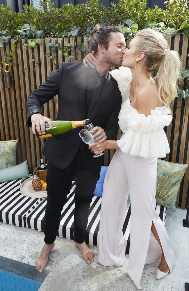 Josh Barker and Elyse Knowles celebrate following the finale of The Block. Picture: Channel Nine.