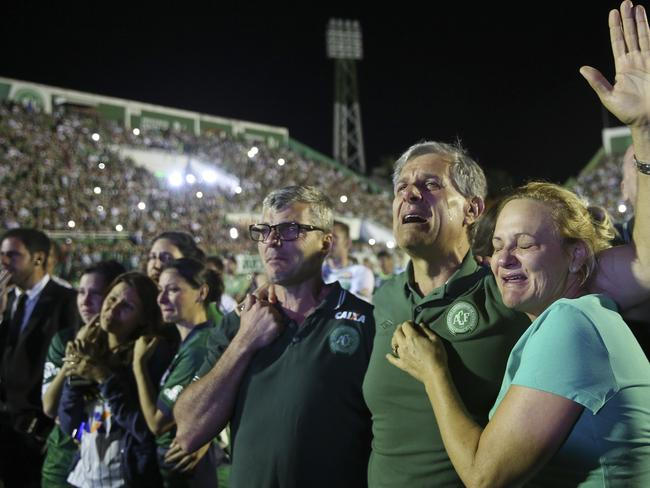 Relatives of Chapecoense soccer players.