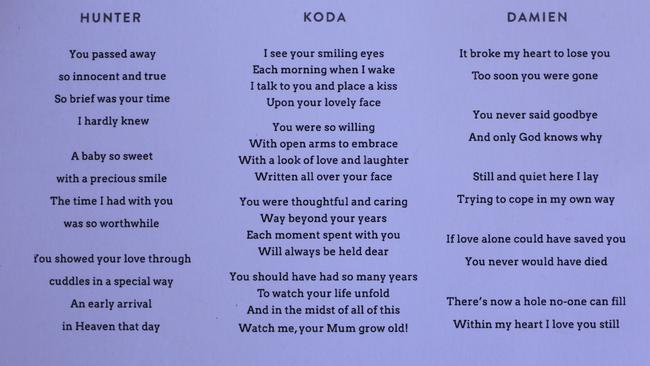 Funeral card from the service for Koda, Hunter and Damien Little, with poems by Melissa Little. Picture: Dean Martin