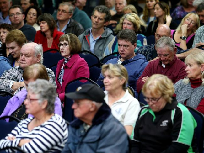Residents at a community meeting in Oakey, Queensland. Picture: Tara Croser.