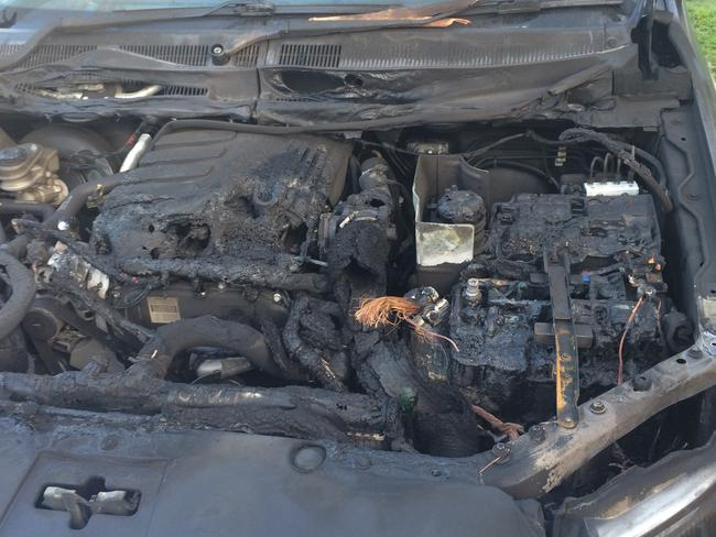 Gutted ... The engine of Paul McCarthy's 2012 Ford Ranger XLT was heavily damaged after the blaze. Picture: Paul McCarthy.