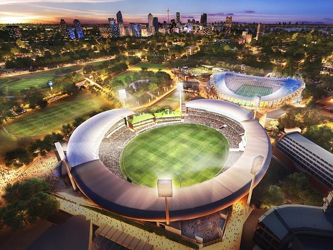 An artist's impression of the upgraded Allianz Stadium, with the SCG.