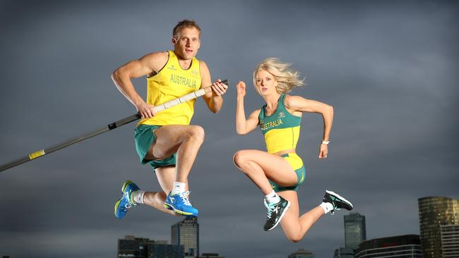 Track and field team members Joel Pocklington and Ashleigh Whittaker. Picture: Alex Coppel