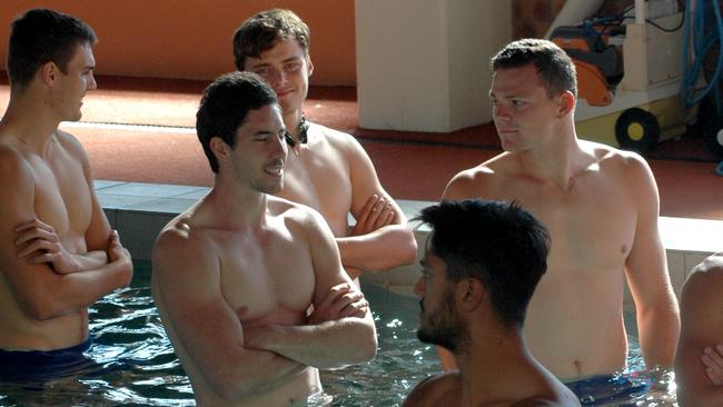 Michael Rischitelli and Steven May at Gold Coast recovery following a loss to Carlton.