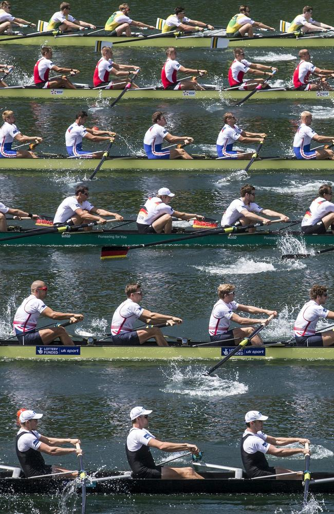 The rowing teams of New Zealand, Great Britain, Germany, Russia, Poland and Australia, from below, compete during the Men's Eight Final.