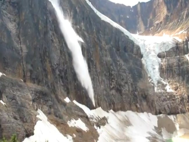 Video still of the icefall at Mt Edith Cavell.