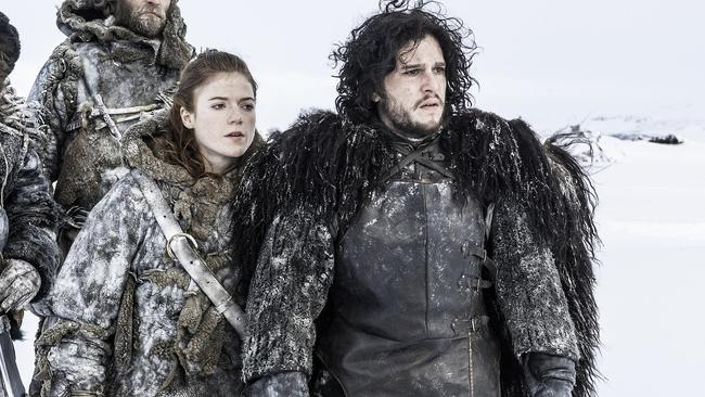 Game of Thrones filmed Kit Harington as Jon Snow at right and Rose Leslie as Ygritte at left. Photo: HBO
